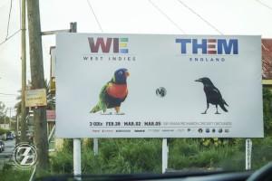 Antigua vs. England cricket billboard
