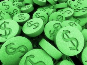 Green pills w. dollar signs